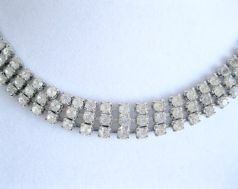 Rhinestone Choker Necklace 3 Strand Vintage Wedding