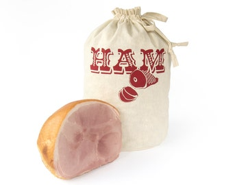HAM BAG: Handmade reusable eco storage bag. Hemp Organic Cotton tote. Christmas ham storage bag. Screenprinted.