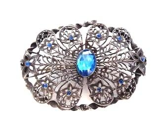 Antique Art Nouveau Silver Tone Metal Brooch Pin Blue Rhinestones Paste Ornate Filigree Jewelry Large Brooch