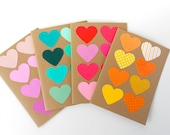 Colorful Hearts Set of 4 Blank Note Cards