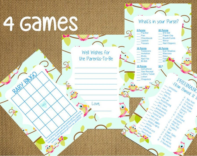 CRAZY SALE Set of 4 Baby Shower Game Advice For The Parents Cards ~Bingo Purse Candy Bar Game Instant Download Printable PDF File