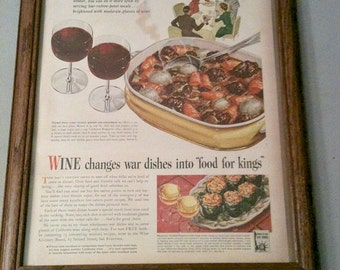 World War Two Ad, Cooking With Wine Ad, Food Ad, War Bonds Ad, Vintage