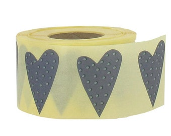 Gray Polka dot Heart Stickers, set of 24, 1.3 x 2  inches, from Finland