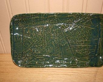 Green pottery tray, soap dish, spoon rest, jewelry tray