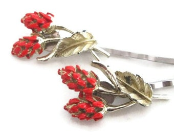 Flowers Bobby Pins Coral Orange Hair Accessories Hairpins Vintage Jewelry