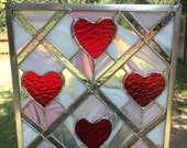 Contemporary Stained Glass Panel - Red Heart Panel