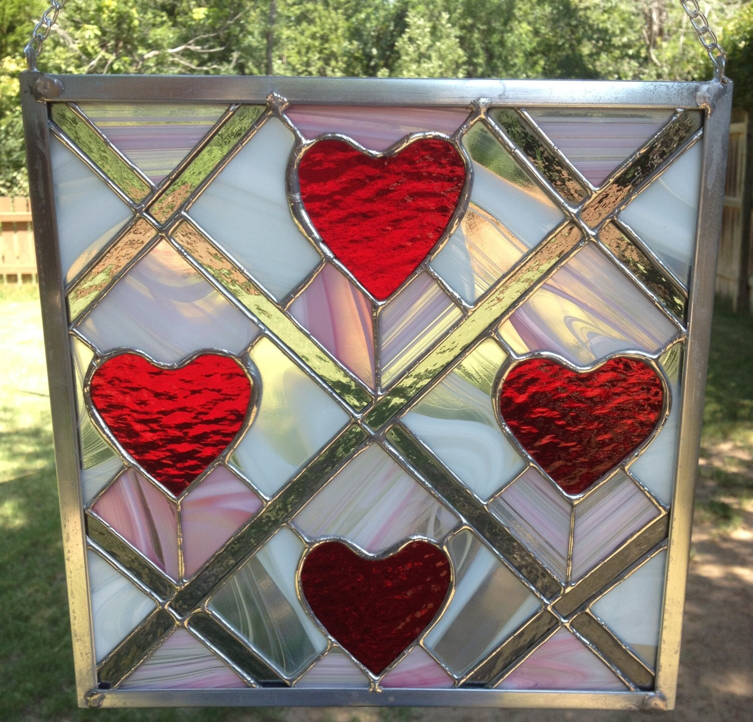 Contemporary stained glass panel red heart panel for Contemporary stained glass
