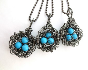 Birds Nest Pendant Wire Wrapped Silver Plate Hematite Robins Egg Blue