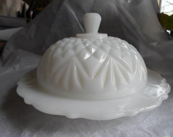 Vintage White Milk Glass Covered Butter/Cheese Dish Round Cut Glass Scalloped Edging 1950s to 1960s Shabby Chic