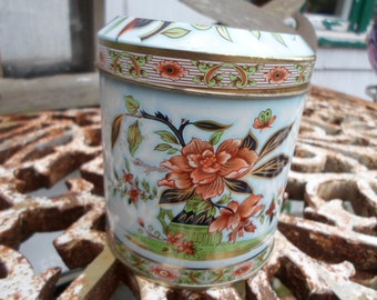 Vintage 1960s Daher Small Tin Flowers Peach/Pink/Green/Teal Round Canister Floral