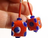 Red and Blue Polka Dot Earrings, 1 3/8 inches (3.6cm) Drops, Novelty Glass Cube Beads with Blue and Red Accents on Silver Ear Wires