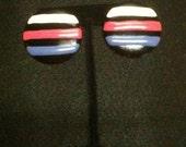 80s, earrings, stripe, post, vintage, pink, blue, black, geometric, statement, post- Crayon Stripes