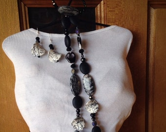 Jewelry, set, black and white, marble, grey, beaded, bracelet, earrings, dangle, necklace, OOAK, unique, gorgeous, woman, classy- Class Act