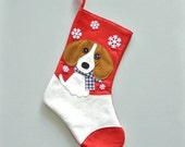 Beagle Dog Personalized Christmas Stocking by Allenbrite Studio