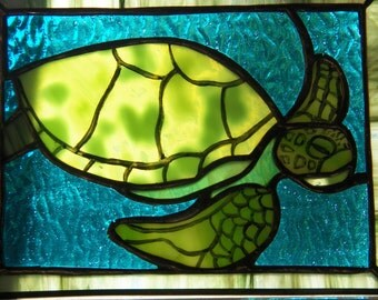 Turtle, stained glass with kiln fired paint
