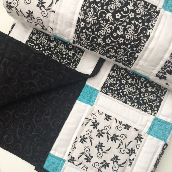 Modern Baby Quilt Black White And Teal Colors
