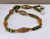 Color Changing Polymer Beaded Necklace with Jade and Coconut Heishe.  Bohemian Chic.  Under 45 dollars
