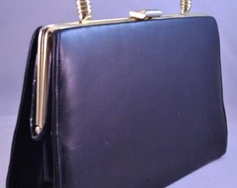 Vintage Lewis Designs Black Handbag Goldtone Clasp Mad Men Purse Womens Birthday or Anniversary Gift for Her