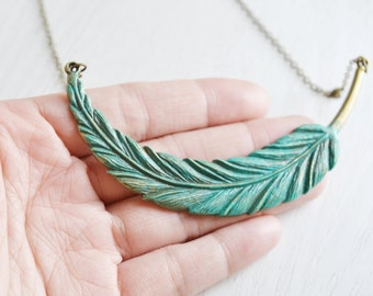 feather necklace, leaf necklace, wing necklace, bridesmaid necklace, statement necklace, feather jewelry, hope, graduation, friend necklace
