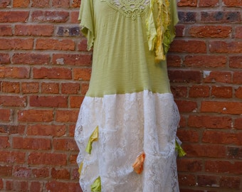 Long Womens Top,Womens Dress, Upcycled Funky Top,Size 2X Top,Bohemian Top,Shabby Chic Top