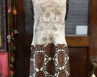 Bohemian Dress, Upcycled Dress, Cotton Dress,Sleeveless Dress,Shabby Chic Dress,Alexander Henry Material