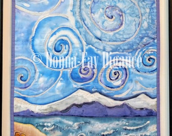 Silk Painted Wall Hanging Swirly Sky Quilted Wall Decor