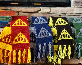 Deathly Hallows Scarves [Hogwarts House Colors]