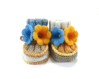 Hand Knitted Baby Booties with Crochet Bell Flowers - Blue and Yellow,  3 - 6 months