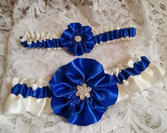 Bridal Garter Set in Royal Blue and Ivory - Something Blue