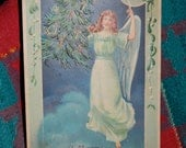Antique Embossed Christmas Post Card of Children Angel Carrying Christmas Tree and Ringing Bell Postmarked December 24,1906 from SC Epsteam
