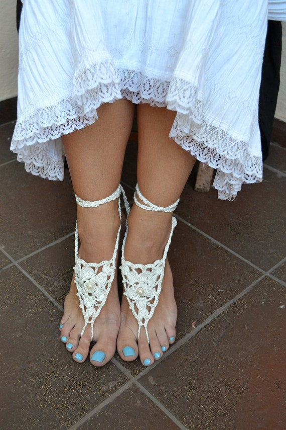 White Sexy crocheted barefoot sandals steampunk, victorian lace, yoga, anklet ,wedding, beach or pool party- Ready to Ship
