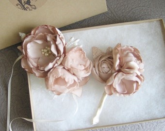 Fabric flower boutonniere and/or corsage. MANY custom colors.  Individual or set. Champagne and lace . Many other available colors