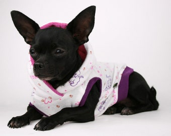SALE Small Dog Clothes Cute puppy print dog hoodie shirt all sizes! Boston, pug, bulldog, yorkie