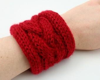PDF DIGITAL PATTERN:Knit Bracelet Pattern,Knit Cuff Bracelet Pattern,Knit Jewelry,Bracelet Cuff Pattern,Red Cuff Bracelet,Cable Knit Cuff