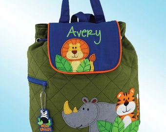 Quilted Backpack - Personalized and Embroidered - ZOO ANIMALS