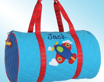 Quilted Duffle Bag - Personalized and Embroidered - AIRPLANE