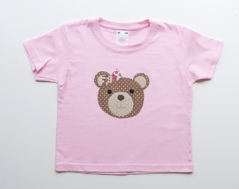 Pretty Teddy applique T shirt Size 2-3 years