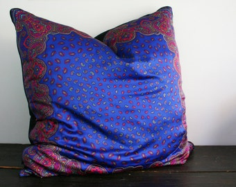 SALE- Gigantic Electric Blue Vintage Paisley Scarf Floor Pillow