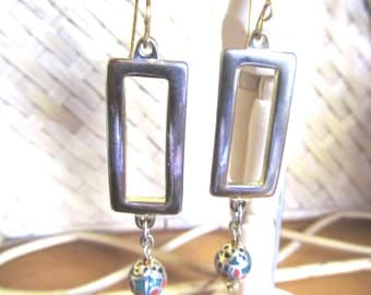 Vintage Rectangle Brass, Cloisonne Bead Earring, Handcrafted Earwire