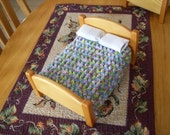 hand-crocheted dollhouse scale afghan/bedspread,  variegated brights double knot 159