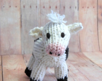 Cow Farm Toy, Nursery Decor, Knit Dairy Cow, Waldorf Stuffed Farm Animal Toy Softie Eco-Friendly, Wool Natural Fibers