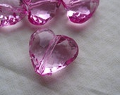6 Dark Pink Heart Transparent Acrylis Beads, Chunky Beads, Acrylic Beads, Transparent, Heart, Pendant