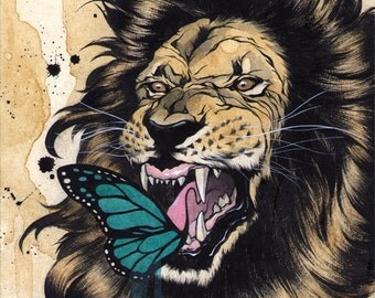 "Original drawing - ""Open, XVII"" (Lion) - 8x10"""