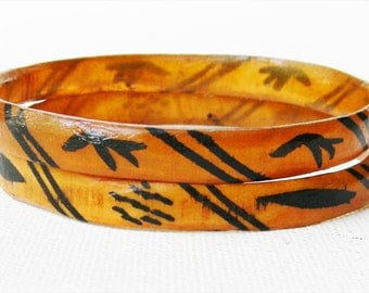 Antique Horn Bangle Bracelets Hand Painted Design PAIR of Two