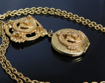 Florenza Ornate Etruscan Inspired Locket And Pendant Gold Tone Necklace With Chain