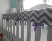 12 COLORS - Crib Teething Rail Padded Front Cover with Fabric Ties 51 inches -Lavender Chevron with Lavender Minky