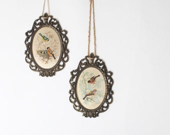 Pair of Vintage Ornate Brass Frames with Artwork