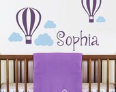 Hot air balloons with Clouds Personalized Name Decal - Nursery Wall Decal Sticker