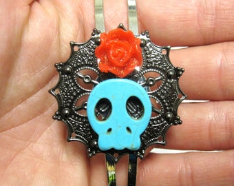 Sugar Skull Headband Turquoise Blue Red Rose Day Of The Dead Head Band