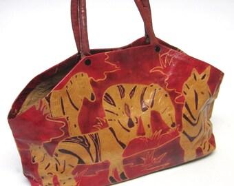 Tan Brown Red Leather Purse Handbag Zebra Carpet Bag